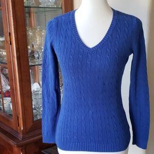 Ann Taylor LOFT Royal Blue Cord Knit Sweater